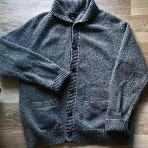 J Crew Wool Grey Cardigan Sz XL